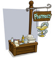 cartoon pharmacy vendor booth market wooden stand vector image