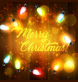 christmas holiday lights on wooden background vector image