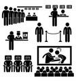 cinema theater movie moviegoers film man stick vector image