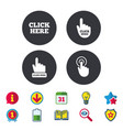 click here signs hand press icons vector image