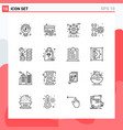 collection 16 icons in line style modern vector image vector image