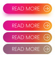 colorful read more web buttons isolated on white vector image vector image
