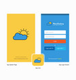company raining splash screen and login page vector image vector image