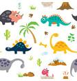 cute dinosaur seamless pattern vector image