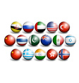 Different country flags on round ball vector image