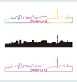 Dortmund skyline linear style with rainbow vector image vector image