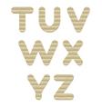 Embossed cardboard Letters set t-z vector image vector image