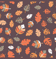fall leaves seamless pattern purple orange vector image