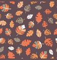 fall leaves seamless pattern purple orange vector image vector image