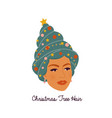 female face young woman with new year tree vector image