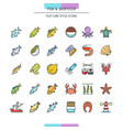 Fish and seafood icons vector image