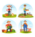 gardeners and farmers with animals and vegetables vector image vector image