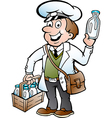 Hand-drawn of an Happy Milkman vector image