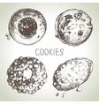 Hand drawn sketch sweet cookies set