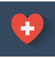 Heart-shaped icon with flag of Switzerland vector image vector image
