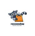 logo raccoon shops simple mascot cartoon vector image