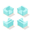 low poly isometric armchair in different positions vector image vector image