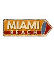miami beach vintage rusty metal sign vector image vector image