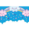 rainbow with happy fluffy clouds and hearts vector image vector image