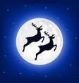 reindeer jumps against background moon vector image vector image