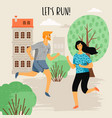 running woman and man vector image