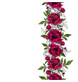 seamless vertical garlands with red peony flowers vector image