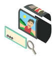 search photo icon isometric 3d style vector image vector image