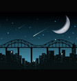 silhouette cityscape at night vector image vector image