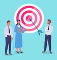target with arrow in bullseye business teamwork vector image