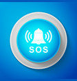 white alarm bell and sos lettering icon isolated vector image vector image
