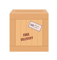 wooden box with the seal of fast delivery vector image vector image