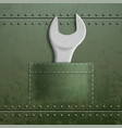 wrench is in pocket metal industrial texture vector image vector image