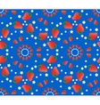 Strawberry pattern on blue background vector image