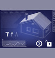 house drawing on a blue background vector image
