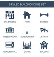 9 building icons vector image vector image