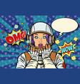 astronaut woman surprise gesture vector image vector image