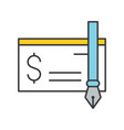 bank check and ink pen icon bank and financial vector image vector image
