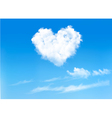 Blue sky with hearts shape clouds Valentines vector image