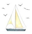 Boat with sails and seagulls made in the vector image vector image