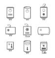 boiler icons set vector image