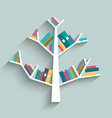 bookshelf in form of tree with colorful books vector image