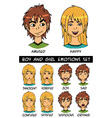 boy and girl emotions set vector image vector image