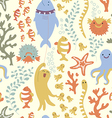 Bright seamless pattern with colorful fishes sea vector image vector image