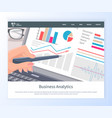 business analytics web chart in laptop vector image vector image