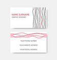 business card abstract wavy line design vector image
