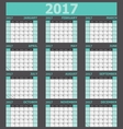 Calendar 2017 week starts on Sunday green tone vector image vector image