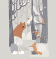 cartoon cute animals meeting winter in forest vector image vector image