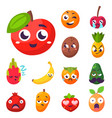 cartoon emotions fruit characters natural food vector image