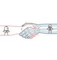 cartoon man and skeleton walking inside a big vector image vector image