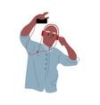 cartoon man listen music dancing character vector image